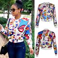 2017 Autumn Fashion Women Pattern Printed Bomber Jackets Long Sleeve Zipper Thin Coat Women's Outwear Kawaii Tops Chaquetas