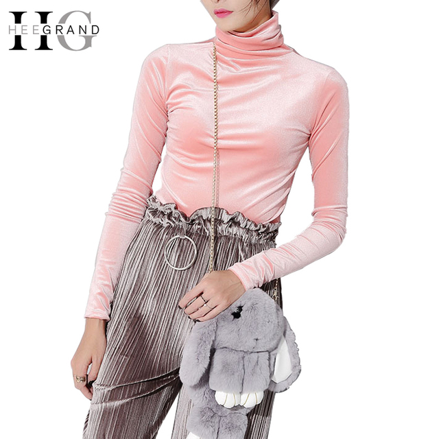 HEE GRAND 2018 Autumn Women Turtleneck Velvet Tops Winter Bottoming Shirt Basic Solid Thick T-shirts Velour Tumblr Tee WTL1019