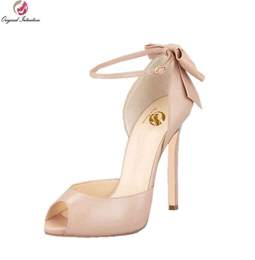 Original Intention Super Elegant Women Sandals Fashion Peep Toe Thin Heels Sandals Black Nude Shoes Woman