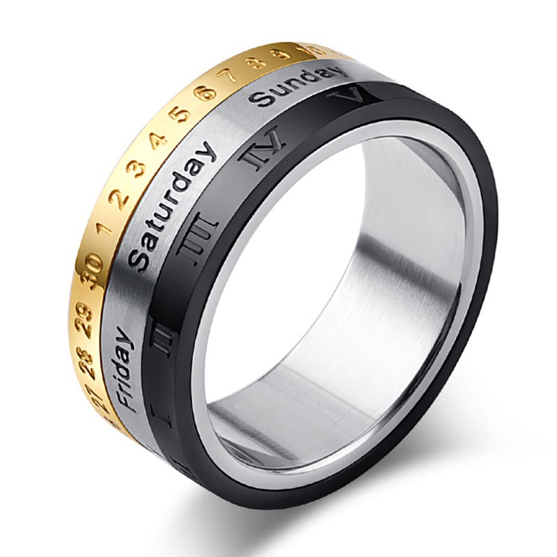8mm Titanium Steel Tricolor Calendar Time Wedding Ring Men's Fashion Jewelry Band Gift CX17