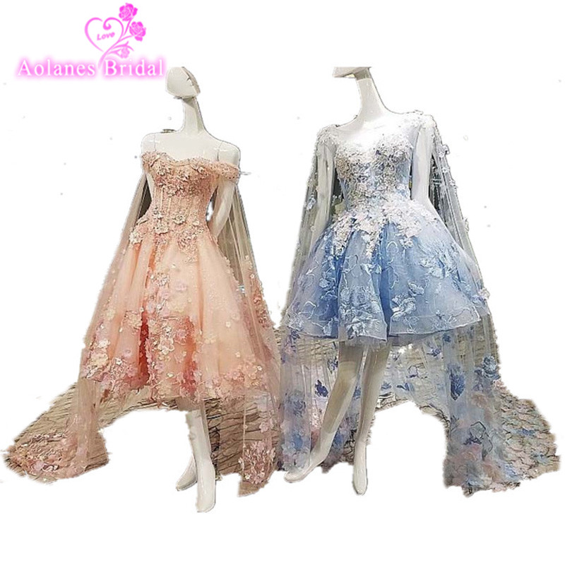 2017 Short Beach Boho Lace Appliques Sequins Wedding Dress Pink Blue Sleeveless Bridal Gowns Dresses With Shawl Robe De Mariage