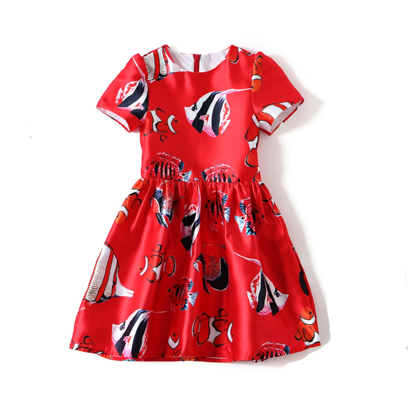Family Matching Outfits Summer Baby Girls Dress Children Cartoon Vestido Short Sleeve Princess Dresses Party Clothing for 3Y-8Y floral girls princess dress for dancing costume short sleeve v neck floor length flower girl dresses family matching outfits