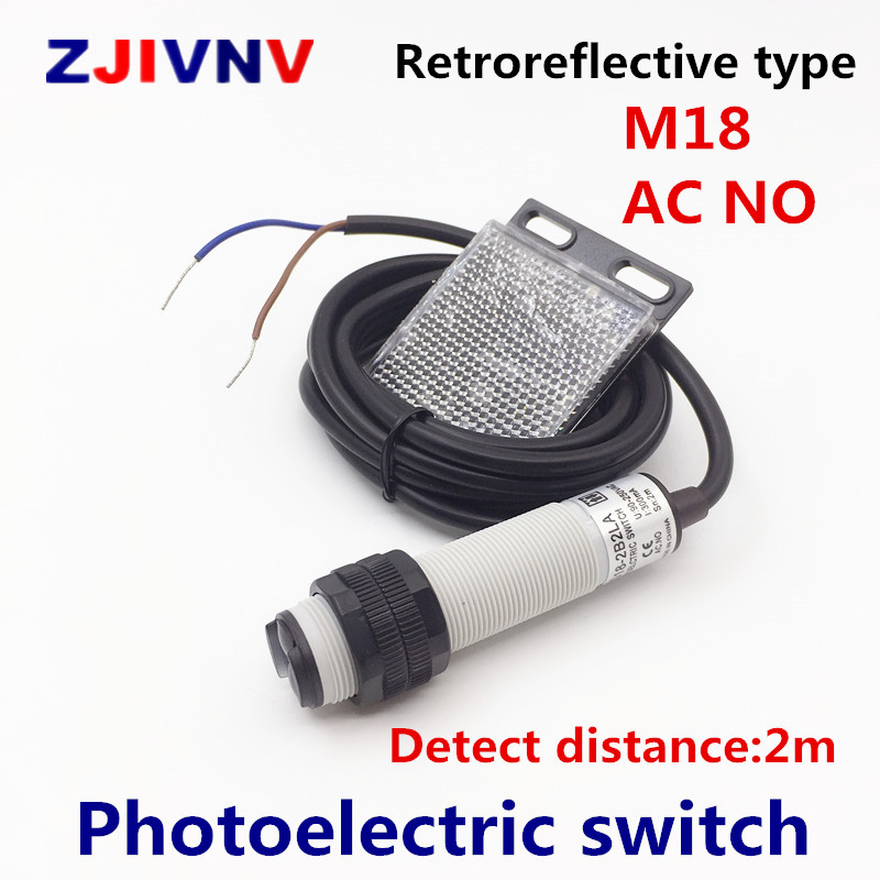 M18 Retroreflective type photoelectric switch AC NO 2 wires open Infrared photocell sensor with mirror reflector distance 2mM18 Retroreflective type photoelectric switch AC NO 2 wires open Infrared photocell sensor with mirror reflector distance 2m