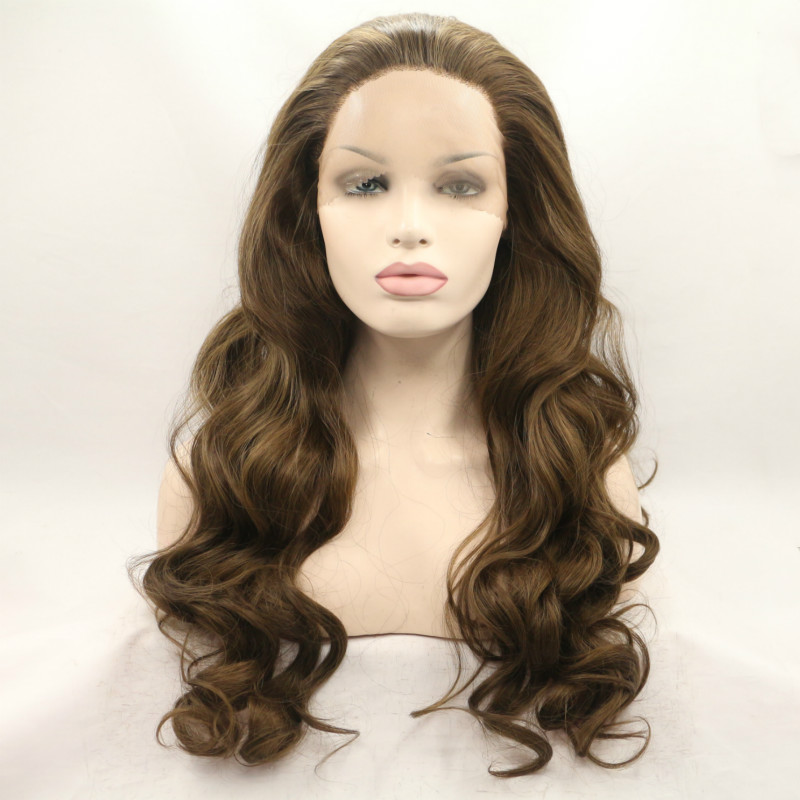 Sylvia Brown Synthetic Lace Front Wig For Women loose Wave Wigs Heat Resistant Fiber Hair For Women