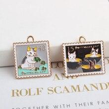 10pcs/lot Cat Album Enamel Charms Bracelets Fit DIY Drop Oil Pendant Rectangle Metal Jewelry Accessories Handmade YZ125
