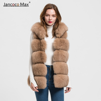 2019 New Autumn Winter Real Fox Fur Vest With Hood Thick Warm Natural Fur Gilet High Quality Waistcoat S1715