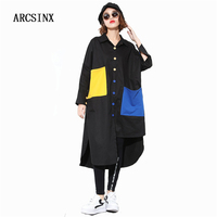 ARCSINX Plus Size Women's Shirt 7XL 6XL 5XL 4XL 3XL Black Shirt Women Long Sleeve Oversize Womens Tops And Blouses Korean Blouse