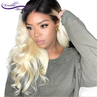#1b/613 Natural Wave Lace Front Wig 10 24 Blonde Color With Black Hair Roots Human Hair with Baby Hair Remy Hair Dream Beauty