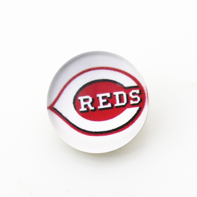 Hot selling 50pcs 18mm Glass Cincinnati Reds Ginger Snap Button For Snap Jewelry