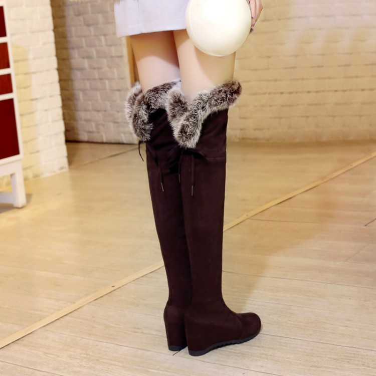 ФОТО Customize big drum fur boots coarse thigh size plus size knee-length elastic shoes boots female boots free shipping