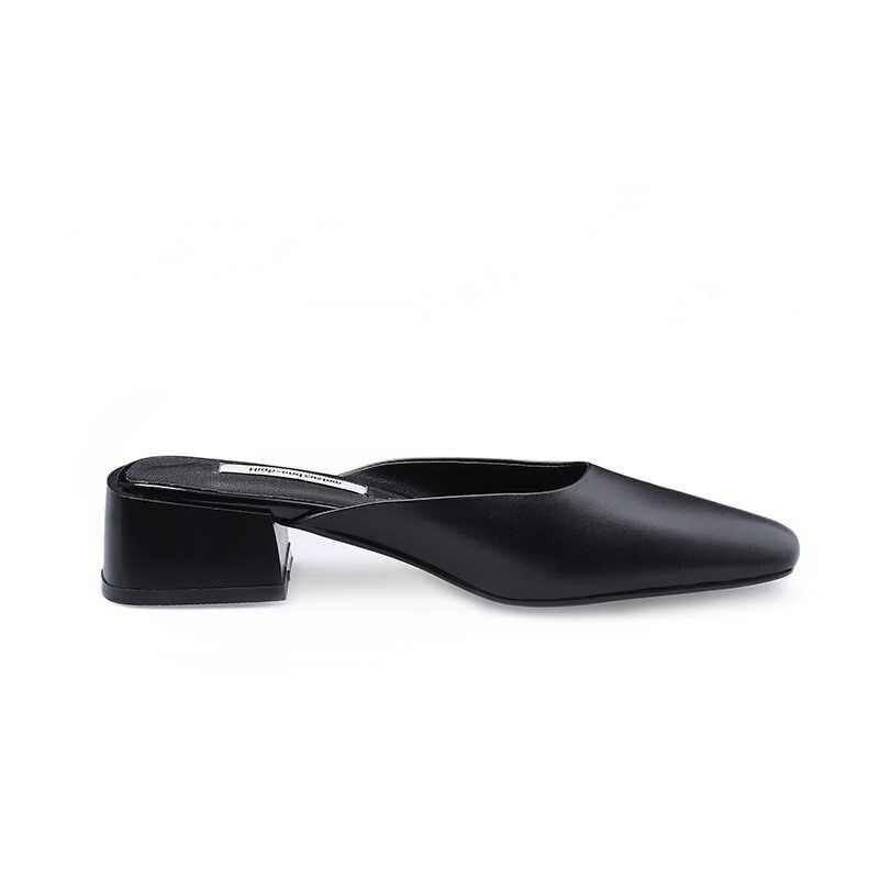 BEIJO Molhado Grosso chinelos De Salto Alto Das Mulheres Do Dedo Do Pé Quadrado Desliza Sapatos calçados De couro De Vaca Mulher Primavera Do Sexo Feminino Mulas Sapatos mulher