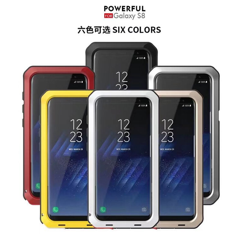 AKASO De Luxe Doom Armure Heavy Duty Métal Cas Antichoc Couverture Pour Samsung S9 S9 PLUS S5 S6 S6 bord S7 S8 S8plus Note 8 cas