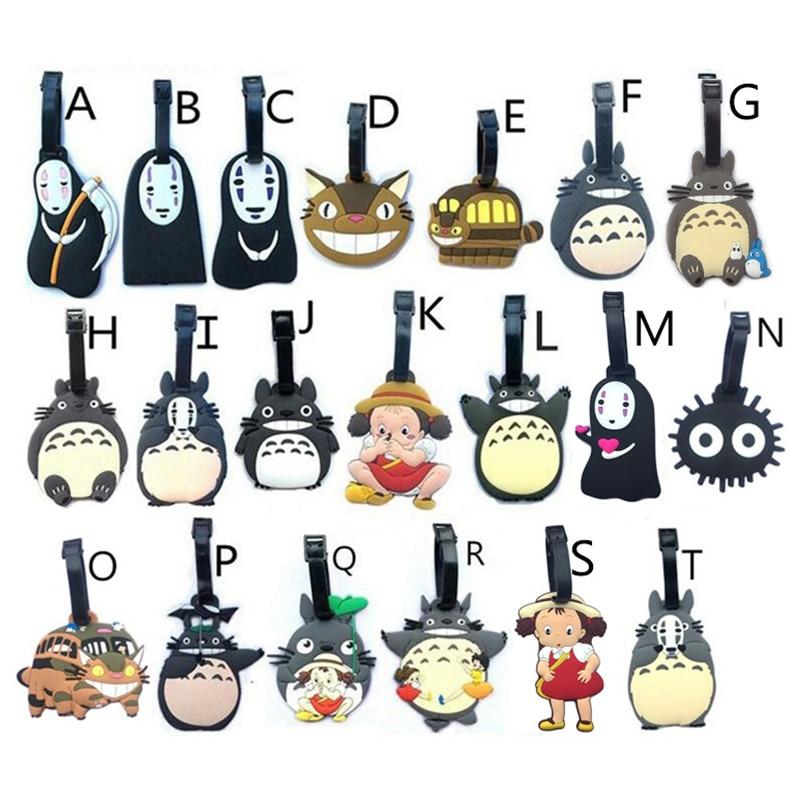 Japan Hayao Miyazaki Spirited Away Totoro No Face Man Luggage Tags Pvc Tavel Accessories Boarding Identification Baggage Labels