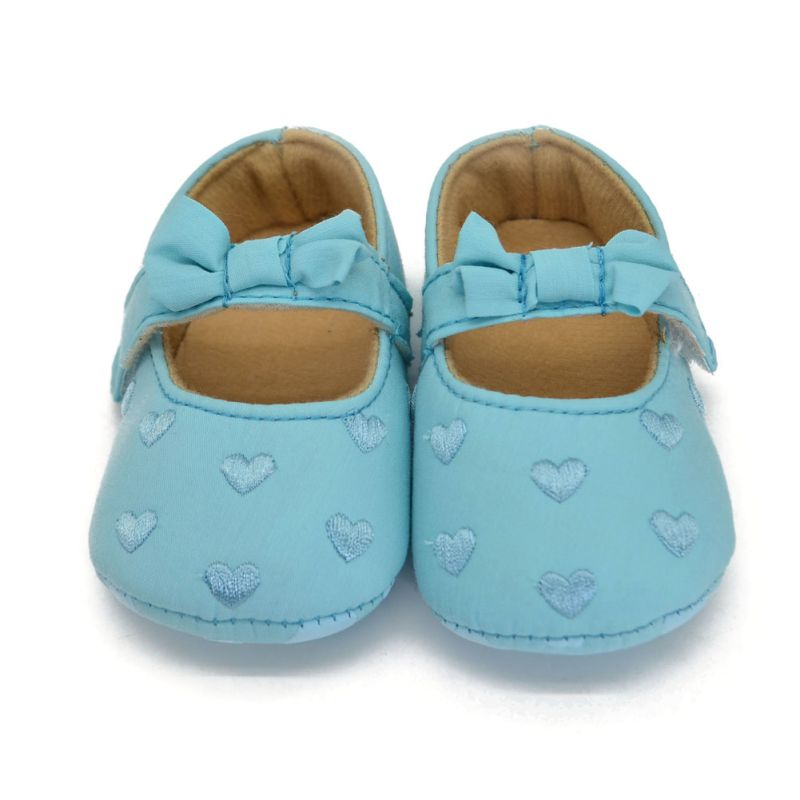 Infant Girl Baby Bowknot Crib Shoe Anti-Slip Prewalkers Love Print Shoes 0-18