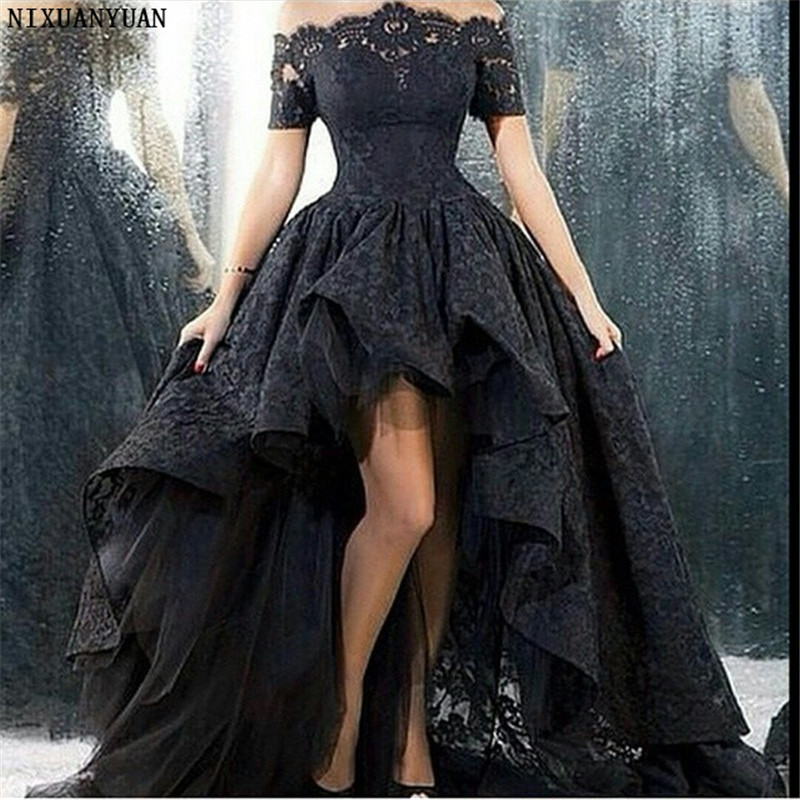 Wedding Dress Short Front Long Back Strapless A-line Floor Length Black Lace Wedding Gown