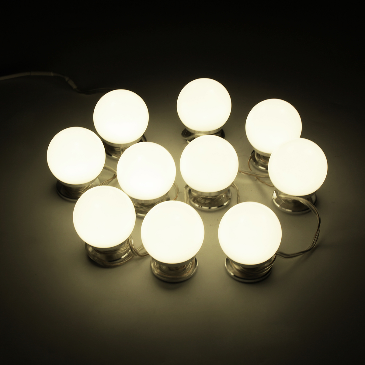 10pcs Makeup Mirror Vanity LED Light Bulbs Hollywood Style Cosmetic Lamp Dimmable for Dressing Table US Power Supply Adapter