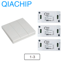 QIACHIP 433Mhz Wireless Remote Control Switch AC 110V 220V RF Receiver Lamp Light LED Switches Corridor Room Wall Panel Switch qiachip wireless lights switch kit 3ch 433mhz rf remote control light switch and receiver module touch home wall light panel set