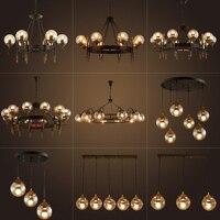 American retro промышленных светодиодный Стекло шар подвесные светильники зал Стекло абажур столовая кухня плохой подвесной светильник светильн