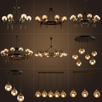 American retro industrial LED Glass Ball Pendant Lights Hall Glass Lampshade dining room kitchen bad Hanging Lamp Fixtures