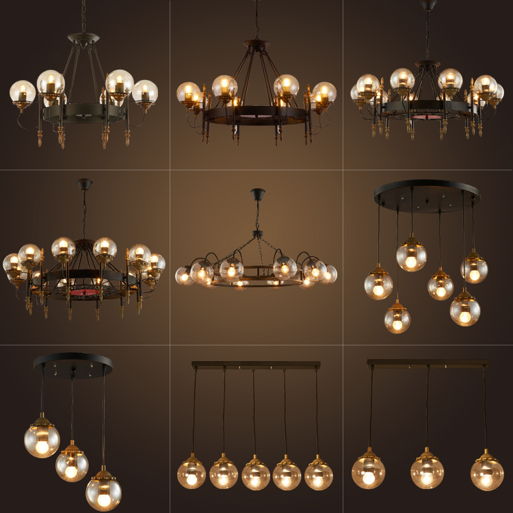 American retro industrial LED Glass Ball Pendant Lights Hall Glass Lampshade dining  room kitchen bad Hanging Lamp FixturesAmerican retro industrial LED Glass Ball Pendant Lights Hall Glass Lampshade dining  room kitchen bad Hanging Lamp Fixtures