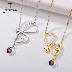 Letdiffery Vintage Stethoscope Nurse Red Heart Crystal Necklaces Stainless Steel Adjustable Women Jewelry Doctors Gifts