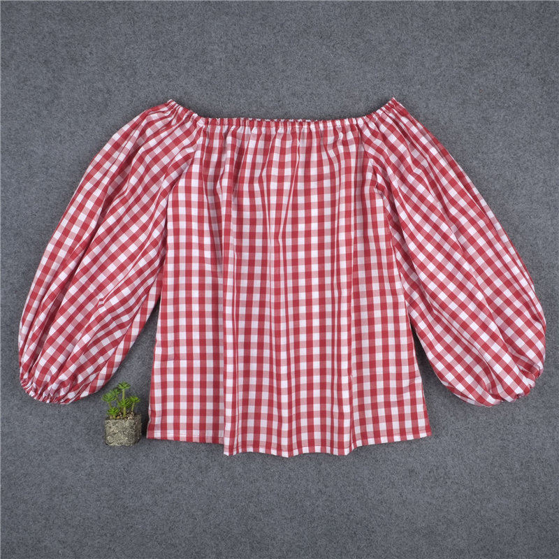 a34e130a502 New Fashion Red and White Plaid Shirts Sexy Slash Neck Off Shoulder Shirt  Summer Three Quarter Lantern Sleeve Women Blouse KP#17-in Blouses & Shirts  from ...