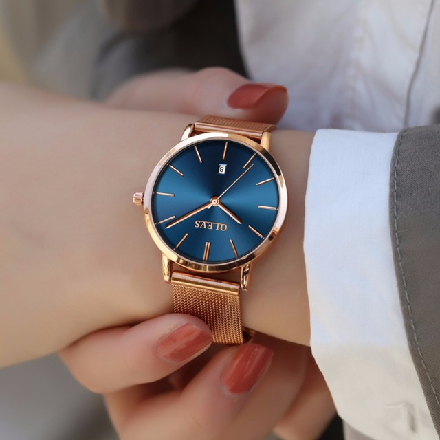 Woman Watch 2018 Brand Luxury Women Rose Gold Stainless Steel Watches Auto Date Ultra thin Quartz Wrist Watch Ladies Watch Blue