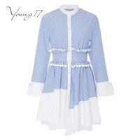 Young17 Casual Dress Women Blue Ruffles Stripe Pullover Long Sleeve Female Elegant Beauty 2017 New Summer