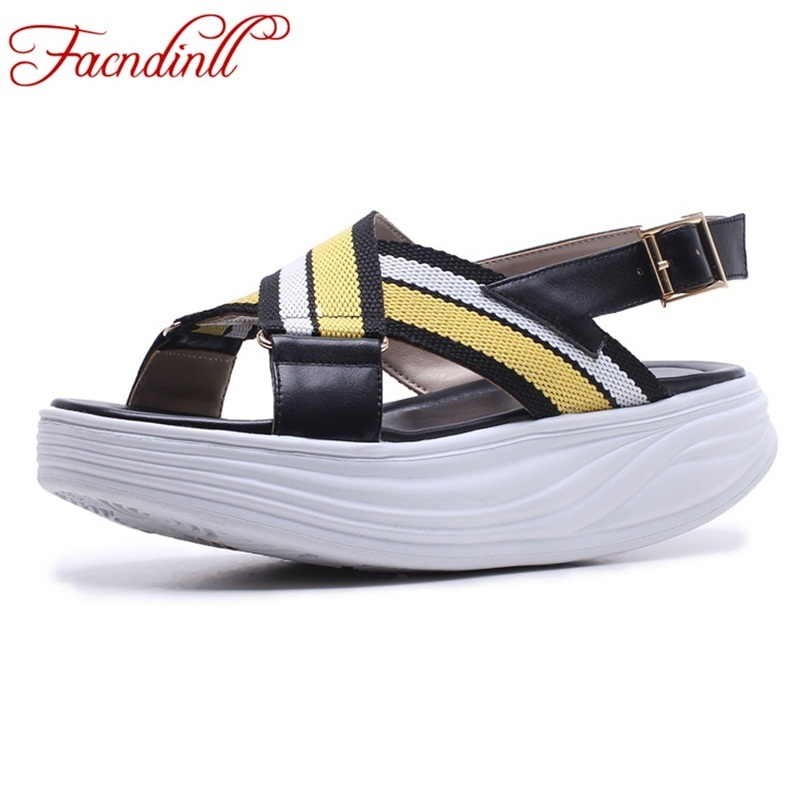 FACNDINLL summer 2018 women sandals wedges sandals ladies open toe black white platform casual shoes sandals comfortable slipper facndinll new women summer sandals 2018 ladies summer wedges high heel fashion casual leather sandals platform date party shoes