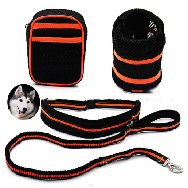 Dog leash running jogging sport hand free Waist Belt Pet reflective traction rope Dog run traction bag set Double head dog lead