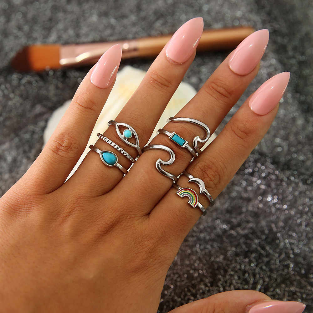 8pcs/set Bohemia Vintage Silver Rings Sets for Women Alloy Rainbow Waves Eyes Midi Finger Knuckle Rings Jewelry Anillos Mujer
