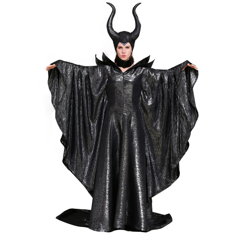 Maleficent Cosplay Adult Meleficent Dress Costume Necklace Hat Adult Women's Halloween Carnival Party Cosplay Costume