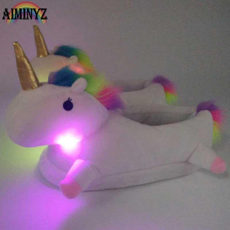 Unicorn Slippers Glowing Warm Light Up Led Pantufa Unicornio Chausson Licorne Slipper Women Shoes Female Plush Fur Mules White