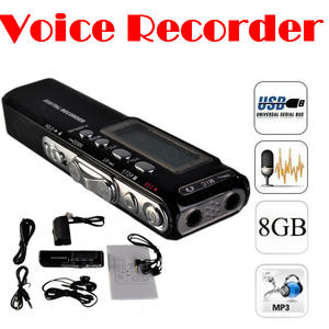 DICTAPHONE Voice-Recorder Mp3-Player AUDIO DIGITAL NEW USB 8GB PRO by 100pieces Ems Dhl
