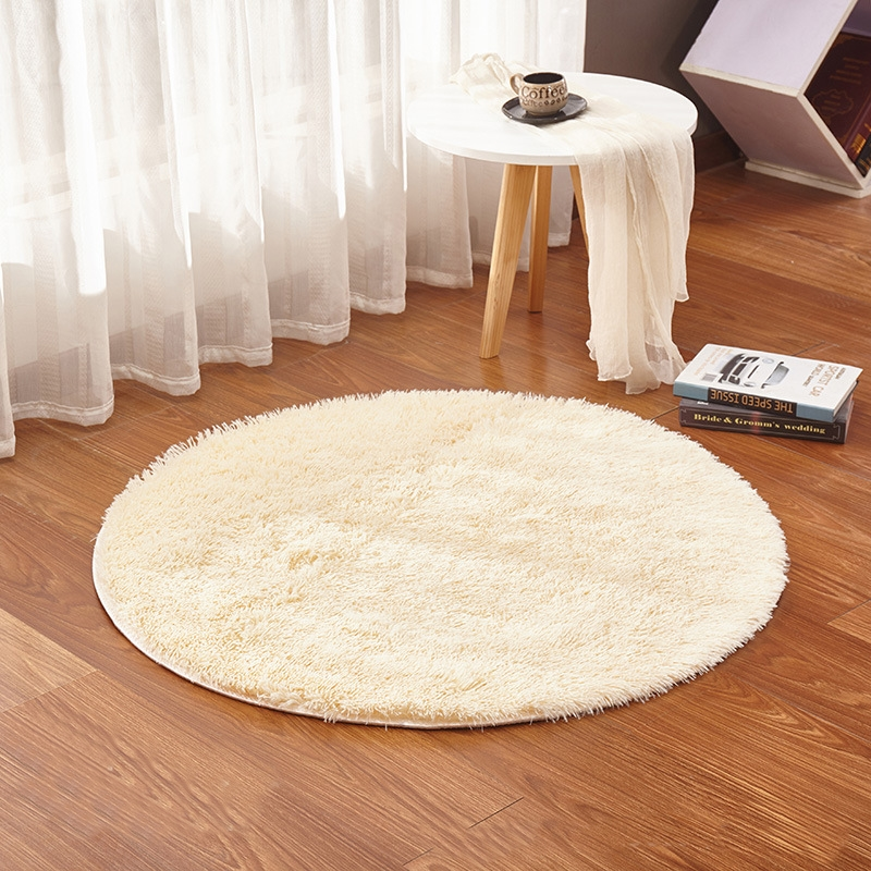 Round Rugs White Plush Home Decoration Mat Thicker Bathroom Non-slip Mat Area Rug For Living Room Soft  Bedroom Carpet Yoga Mat