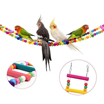 Pet Bird Parrot Wood Colorful Climbing Ladder toy Cableway Hamster Toys Rope Parrot Bites Harness Cage Parakeet