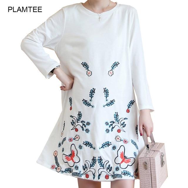 Spring Autumn Embroidery Dresses for Pregnant Elegant White Robe De Grossesse A Line Maternity Dress O Neck Gestante Vestidos
