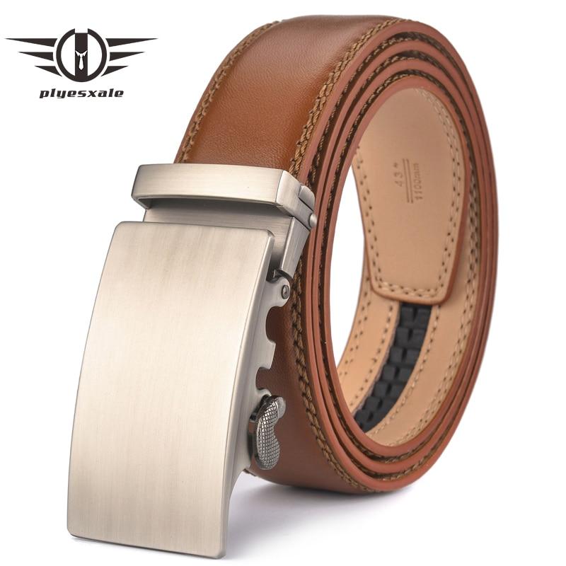 Plyesxale Brown Leather Belt Men 2018 Automatic Buckle Mens Belt For Jeans Vintage Style Mens Belts Luxury Ceinture Homme B9