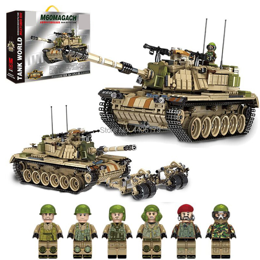 compatible LegoINGlys military WW2 Israel army war MK60 Heavy Combat tank Building Blocks mini weapons figures brick toys gift 632004 1753pcs military world war israel m60 magach main battle tank 2in1 ww2 army forces building blocks toys for children gift