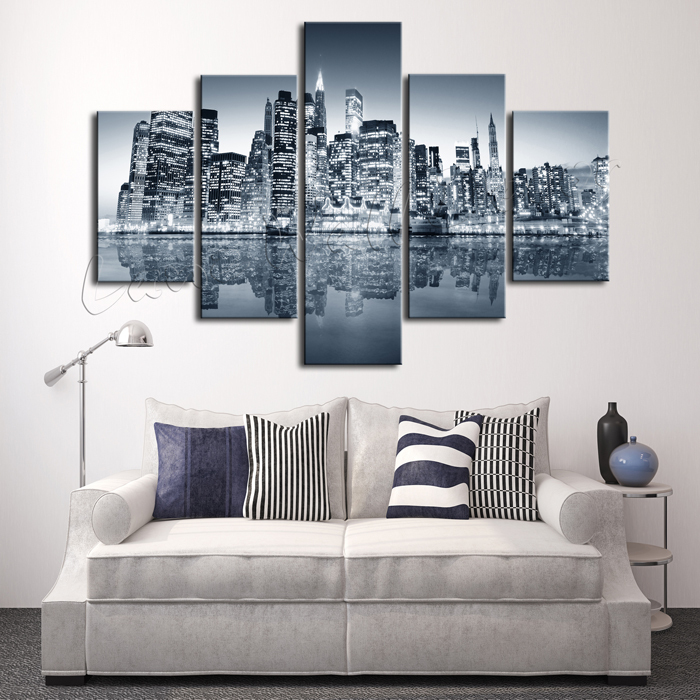 5 pieces oil painting canvas prints landscape new york city home stunning new york themed bedroom decor