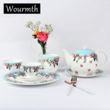 WOURMTH Fashion Bone China Coffee Set Porcelain Tea Set Ceramic Pot and Bowl Teatime Teapot Coffee Cup Mugs