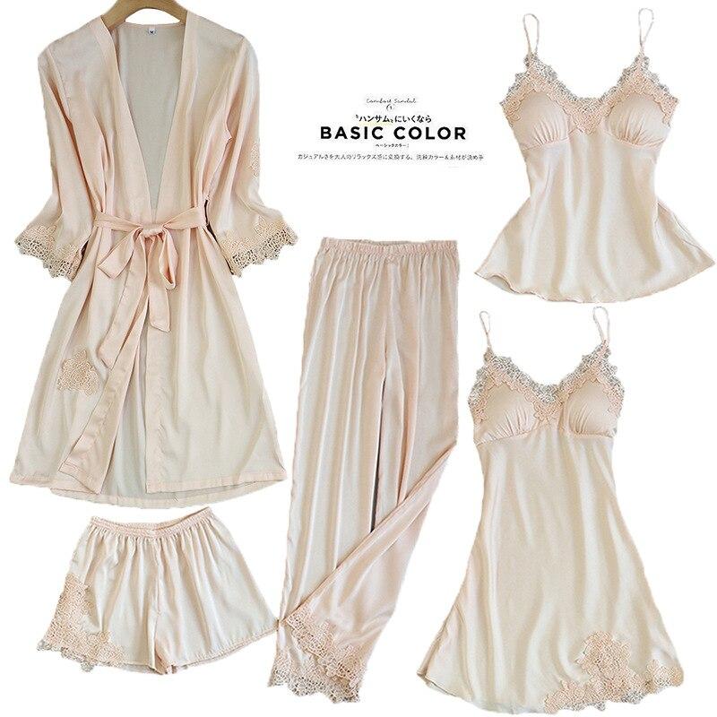 Женские пижамы, 5 шт., атласная пижама, шелковая Домашняя одежда, домашняя одежда, вышивка, Пижама для сна, для отдыха, пижама с нагрудными накладками - Цвет: Шампанское