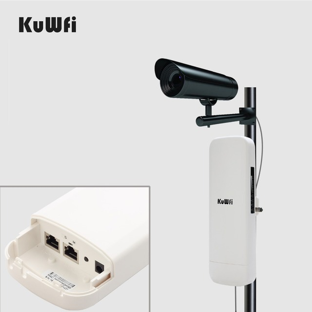 KuWfi 900Mbps Wireless CPE Router Outdoor Wireless Bridge Long Range 3.5KM WIFI Repeater WIFI Extender System for IP Camera POE