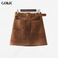 GOKIC New Autumn Winter Short Velvet Skirt Women 2017 Female High Waist Pocket A Line Skirt