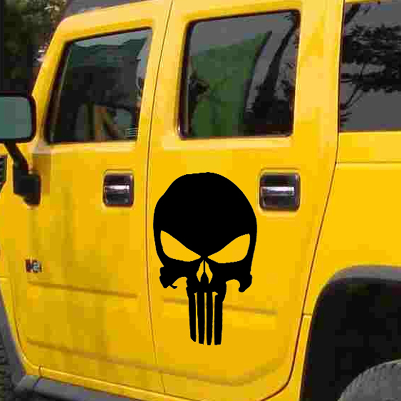 44cm x 30cm Classic Punisher Skull Car Sticker For Cars Side, Truck Window SUV Door Kayak Vinyl Decal 8 Colors