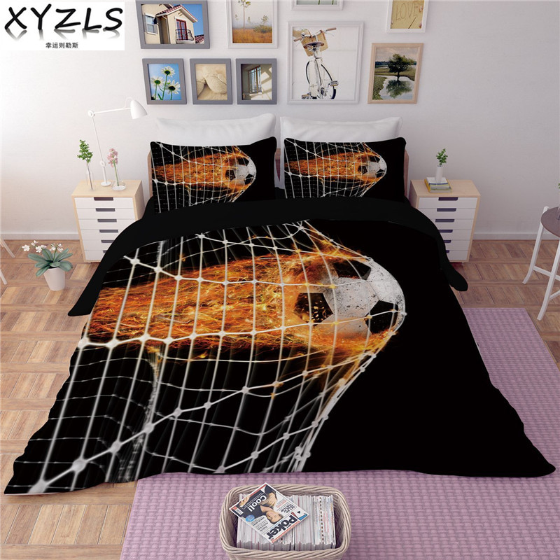 XYZLS Creative Soccer Boys Bedding Set Basketball/Football Queen Kids Bedding Kit Tennis Sports Students Duvet Cover Sets