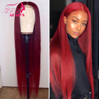 AFAIYS 99J Red Lace Front Human Hair Wigs Peruvian Straight Remy Hair Ombre Long Human Hair Wigs Pre Plucked with Baby Hair