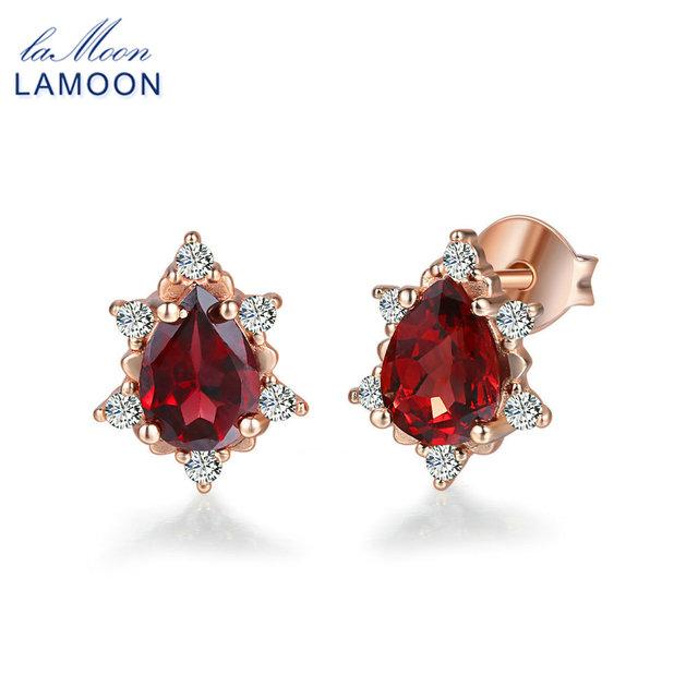 LAMOON 2018 Pear-Shaped 100% Natural Gemstone Red Garnet Earrings 925 sterling-silver-jewelry S925 for Women Girl Gifts LMEI060