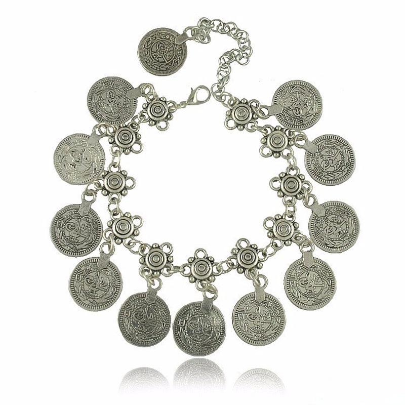 Bohemian Antalya Coin Bracelet Silver Gypsy Boho Coachella Festival Turkish Jewelry Sinaya Tribal Ethnic Jewelry