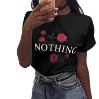 Summer T Shirt Womens Nothing Letters Printing Rose Cotton Loose Tops Short Sleeved 4 Colors Coreano